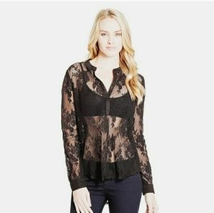 3/$25 GUESS Lace Henley Shirt Black
